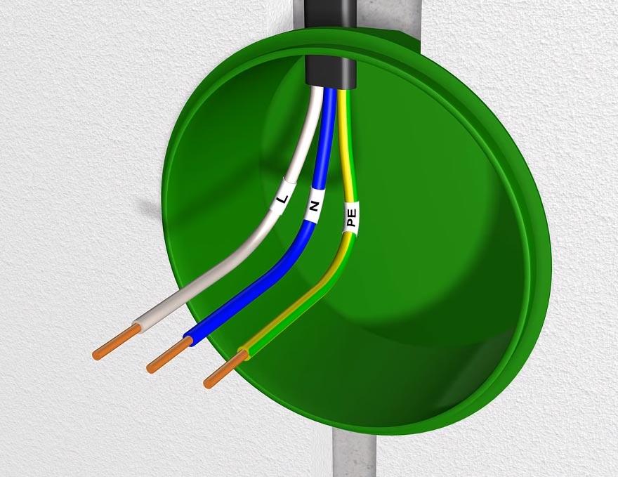 жилы кабеля в распредкоробке для подключения питания на диммер