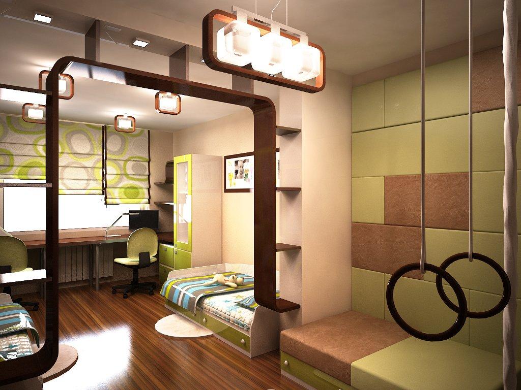 светлая детская спальня для ребенка