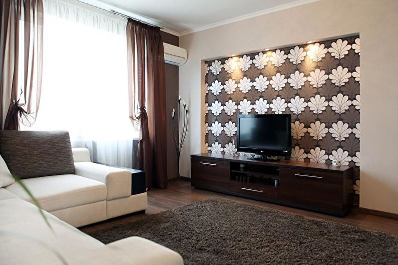 Комбинирование обоев в гостиной - Панно и ниши под телевизор