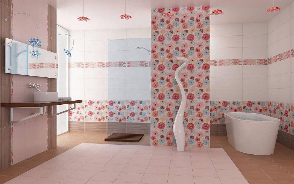 Пример отделки стен ванной комнаты керамической плиткой