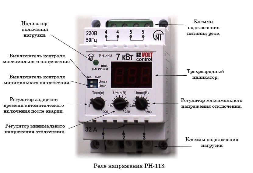 кнопки управления реле напряжения РН113