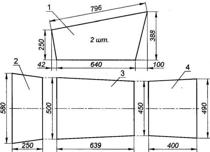 схема кроя кузова садовой тележки