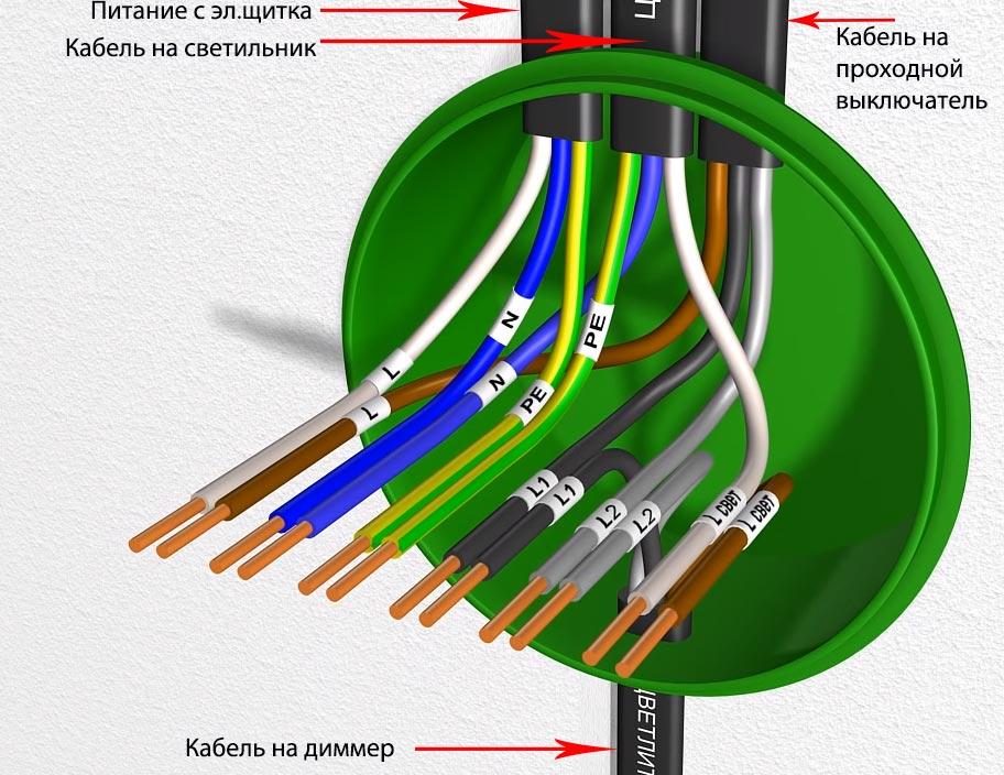 схема подключения диммера проходного и выключателя в распредкоробке