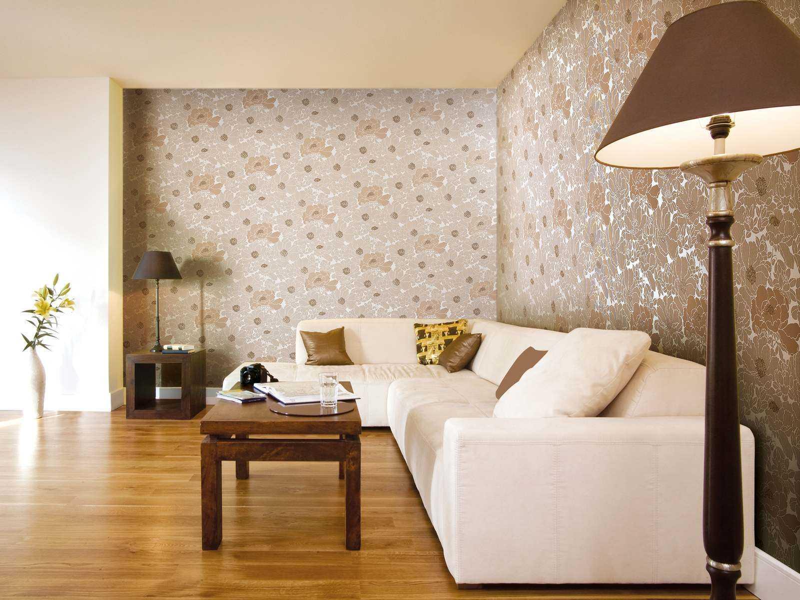 Комбинирование обоев при зонировании гостиной