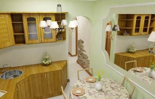 Зеркало в интерьере маленькой кухни визуально расширит пространство и сделает помещение светлее