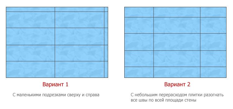 Схема расположения керамической плитки в ванной