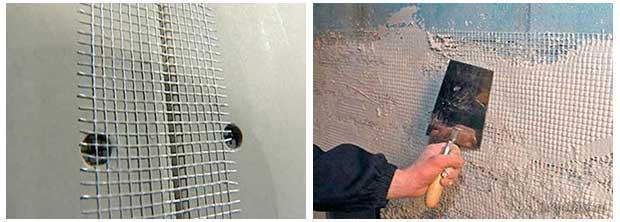 Наклейка сетки на гипсокартон