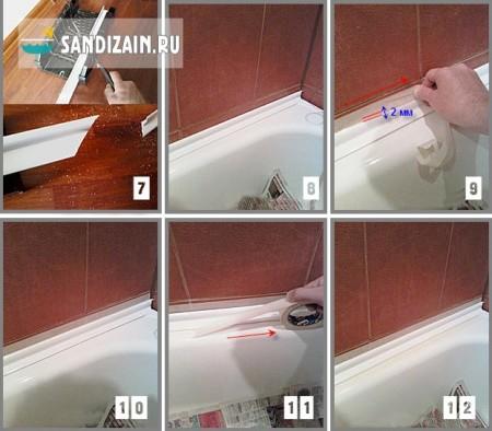 Монтаж пластикового уголка для ванной