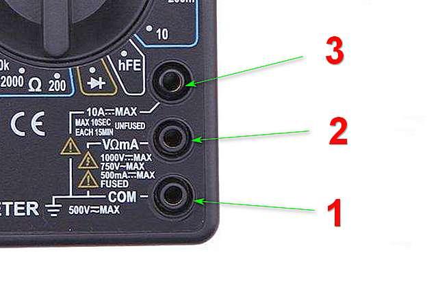 Гнезда для подключения измерительных проводов мультиметра