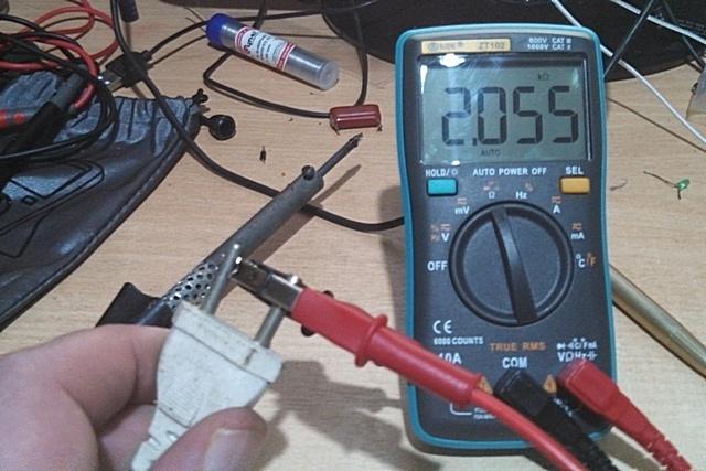 Проверка сопротивления нагревательного элемента паяльника