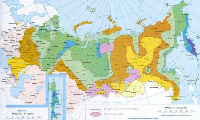 Распределение территории РФ по степени снеговой нагрузки