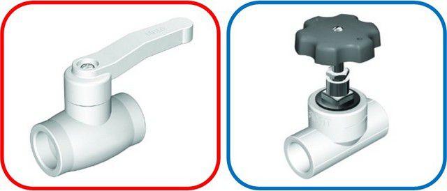 Запорный шаровой кран (слева) и балансировочный вентиль
