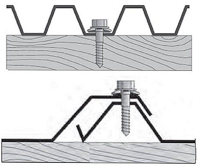 Саморезы, установленные по низу и по гребню волны