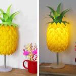настольная лампа из бумаги в виде ананаса