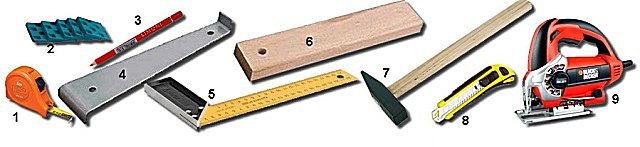 Обычный набор инструментов, необходимый для монтажа ламинированного покрытия пола
