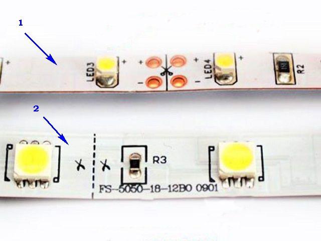 Ленты со светодиодами SMD 3028 (поз. 1) и SMD 5050 (поз.2)