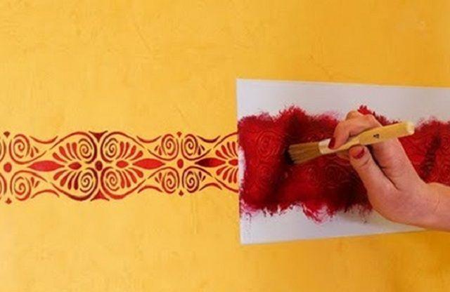 Набивка трафаретного орнамента краской