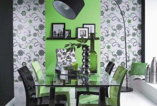 Акцентирование стены возле какого-то предмета мебели - еще один способ того, как поклеить обои двух цветов