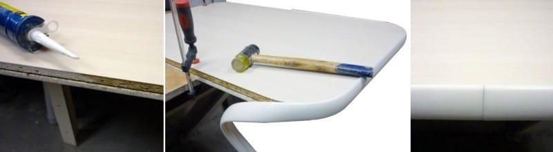 Обработка торца ДСП герметиком и отделка кантом резиновой киянкой