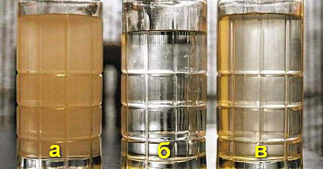 Вода с высоким содержанием железав различных формах: а – трехвалентная дисперсия; б – двухвалентная растворимая (поначалу может быть практически незаметной); в – коллоидная органическая.