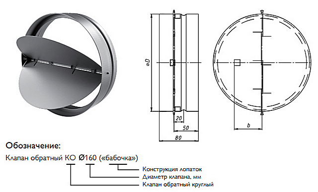 Одна из моделей двухстворчатого обратного клапана типа «бабочка»