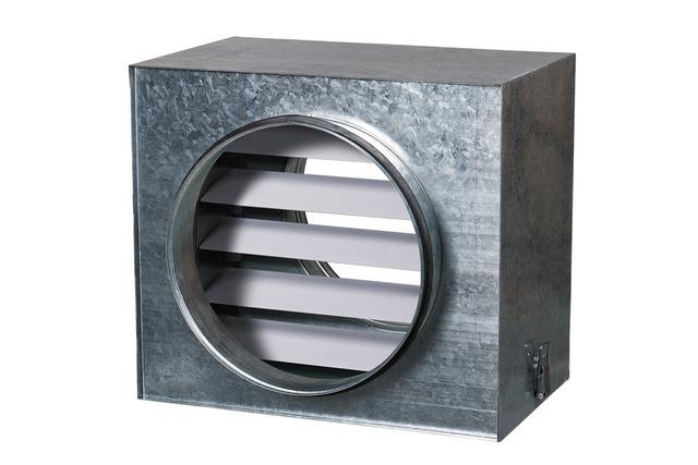 Промышленный многостворчатый обратный клапан-жалюзи, предназначенный для встраивания в систему вентиляции.