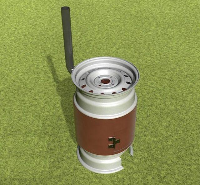 Буржуйка из трубы и колесных дисков