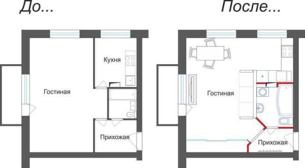 Вариант перепланировки однушки в квартиру-студию