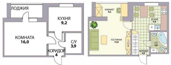 Перепланировка 1 комнатной хрущевки