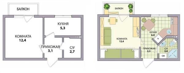 Планировка хрущевки: 1 комната