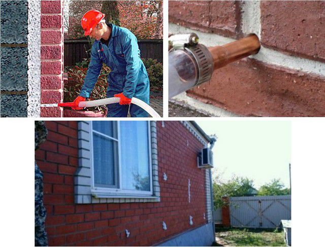 Заполнение пеноизолом заранее оставленных полостей во внешних стенах здания