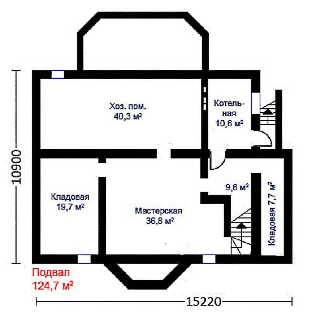 Общий план цокольной части дома с выделенным для котельной помещением
