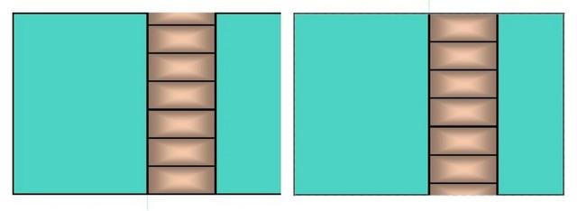 Резаный узкий ряд станет менее заметным, если его расположить самым нижним, вдоль пола.