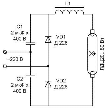 Схема с диодами и конденсаторами