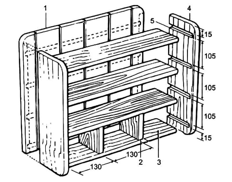 Такое изделие можно сделать из остатков старого шкафа или тумбы, «отредактировав» материал