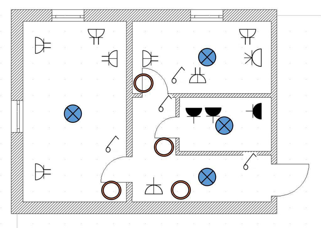Продолжаем составление схемы - намечаем расположение монтажных коробок