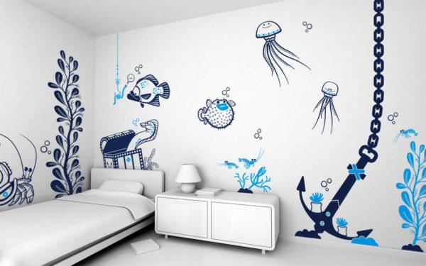 фото рисунка на стене не морскую тематику