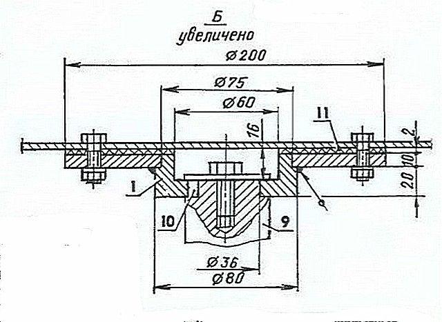 Узел соединения емкости со ступицей редуктора