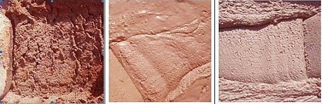 Различные консистенции штукатурных растворов (слева – направо)