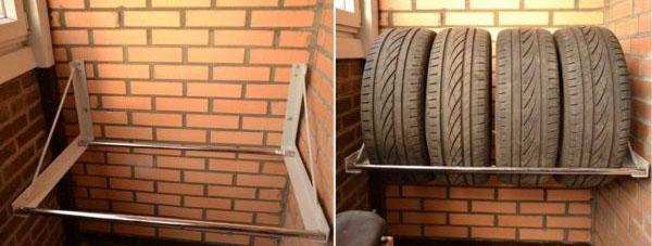полка для хранения шин без дисков