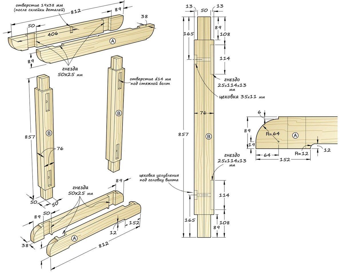Стойки, верхние и нижние перекладины-опоры – размеры, принцип сборки и крепления.