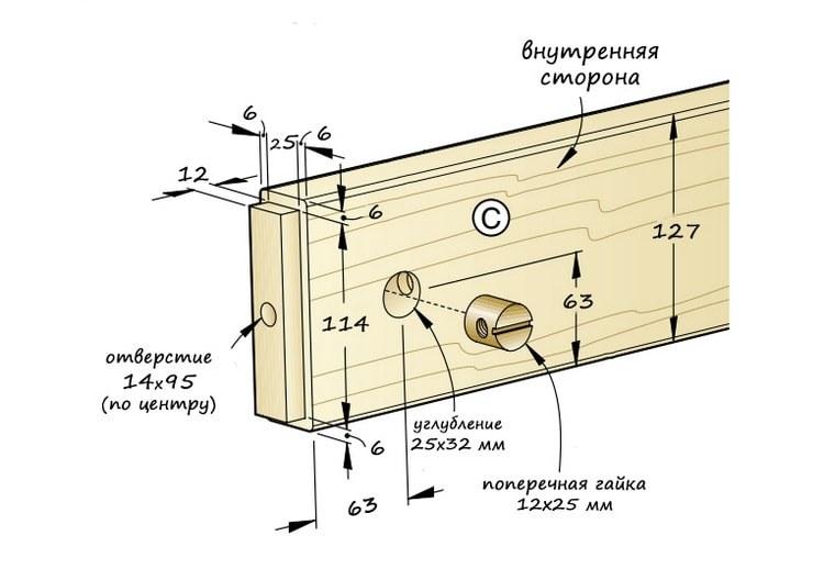 Схема соединительного узла проножий.