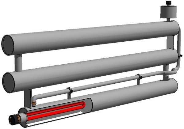 Схема батареи с электрическим тэном.