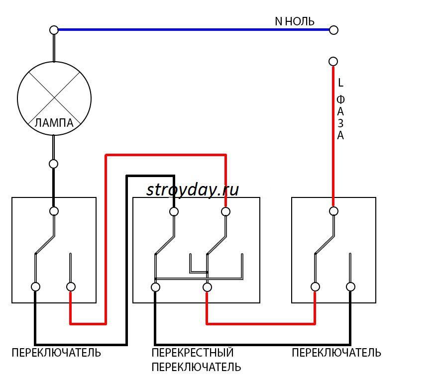 Схема подключения двух проходных и одного перекрестного выключателя