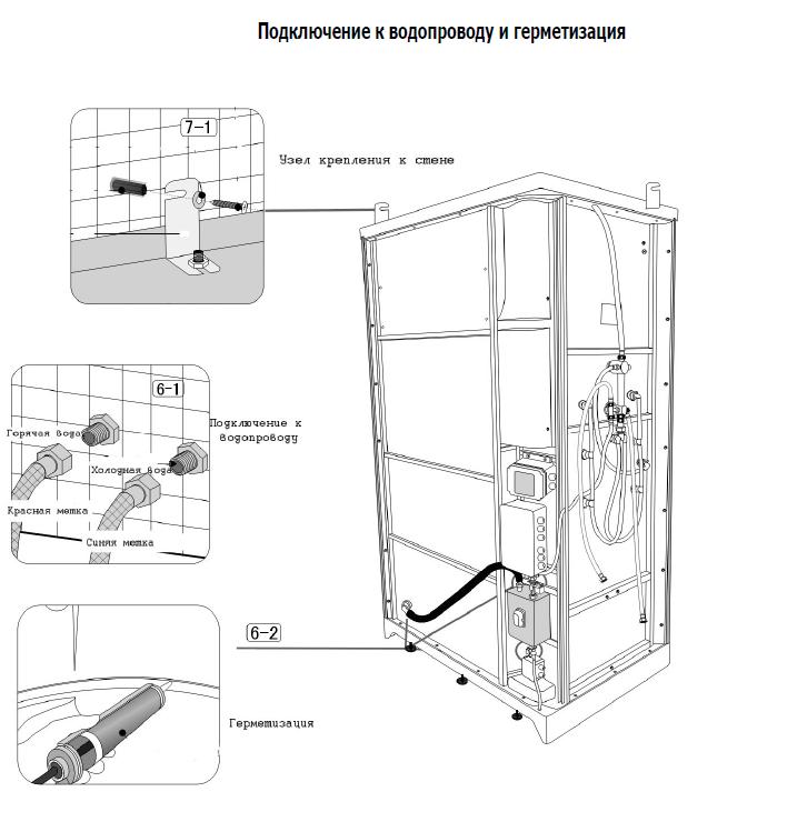 Схема сборки и установки душевой кабины