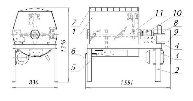 Примерный чертеж бетоносмесителя принудительного действия