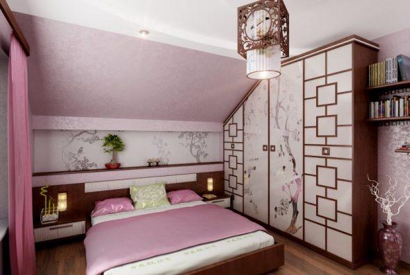 Спальня на мансардном этаже в японском стиле