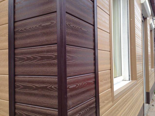 Стена, обшитая древесно-полимерным сайдингом