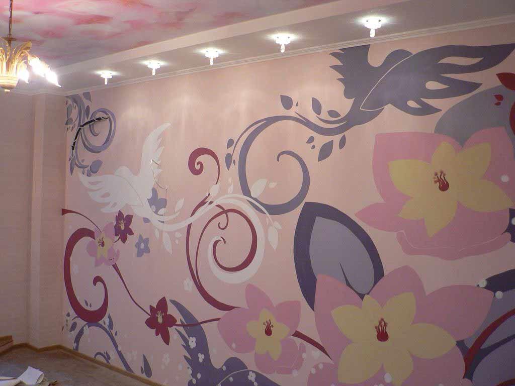 Стенная роспись по трафарету