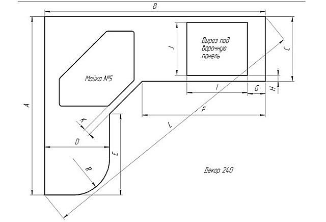 Пример составления чертежа для изготовления опалубки под столешницу.